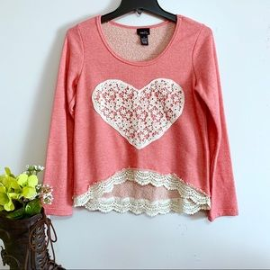Rue21 Coral and Cream Long Sleeve Lace Top